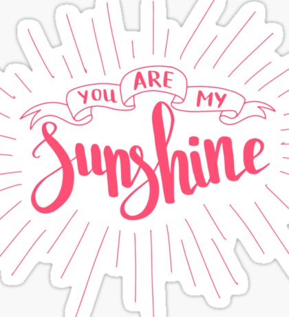 You are my sunshine. Love quote for Valentine`s day. White background. Sticker