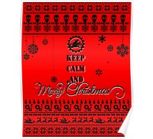 Keep Calm And Merry Christmas   Motorcycle Poster