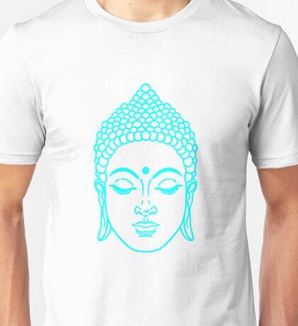 Buddha head in cyan Unisex T-Shirt