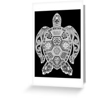 Royal Sea Turtle - silver, black and white Greeting Card