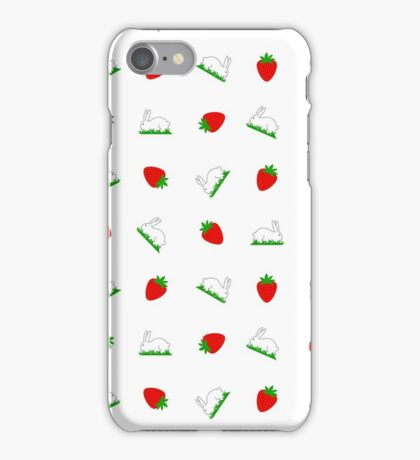 Fresh strawberries and sweet white bunnies on grass design iPhone Case/Skin