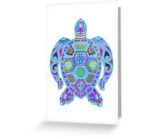 Royal Sea Turtle -  colorful blues Greeting Card