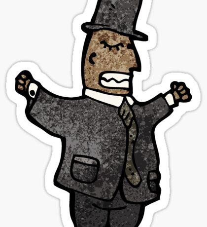 cartoon rich man in top hat Sticker