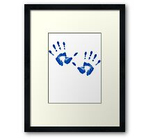 Blue Handprints Framed Print