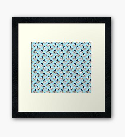 Mittens Snowman Pattern Framed Print