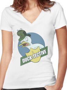 Duck-Tective Women's Fitted V-Neck T-Shirt