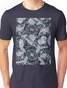 Abstract pattern.Blue,grey, white, black swirls and abstract shapes on a gray background. Unisex T-Shirt