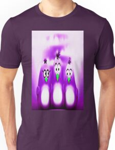 Penguin Triplet In Solid Purple Unisex T-Shirt