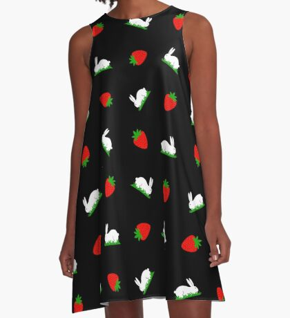 Fresh strawberries and sweet white bunnies on grass design A-Line Dress