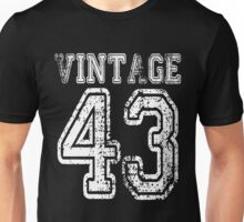 Vintage 43 1943 2043 T-shirt Birthday Gift Age Year Old Boy Girl Cute Funny Man Woman Jersey Style Unisex T-Shirt
