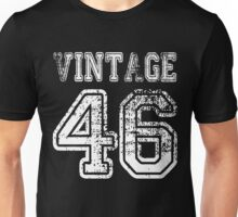 Vintage 46 1946 2046 T-shirt Birthday Gift Age Year Old Boy Girl Cute Funny Man Woman Jersey Style Unisex T-Shirt