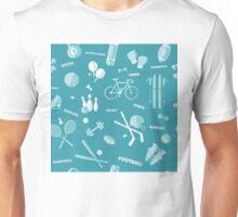 Sports Seamless Pattern. Baseball, Football, Basketball, Tennis, Skiing, Fitness in vector flat style Unisex T-Shirt