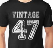 Vintage 47 2047 1947 T-shirt Birthday Gift Age Year Old Boy Girl Cute Funny Man Woman Jersey Style Unisex T-Shirt