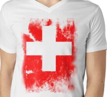 Flag of Switzerland Mens V-Neck T-Shirt