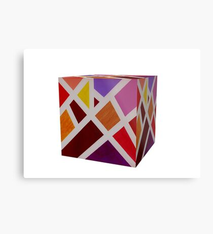 A Cube of Piet's Abstract Metal Print