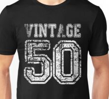 Vintage 50 2050 1950 T-shirt Birthday Gift Age Year Old Boy Girl Cute Funny Man Woman Jersey Style Unisex T-Shirt