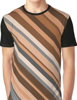 Rustic/Earthy Brown, Grey and Beige Stripes Graphic T-Shirt