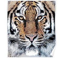 Tiger Portrait in Graphic Press Style Poster