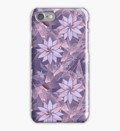 The floral pattern. Lilac flowers on abstract background. iPhone Case/Skin