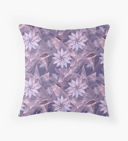 The floral pattern. Lilac flowers on abstract background. Throw Pillow