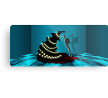 BLACK XMAS: Decorating the Christmas Tree Metal Print