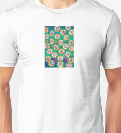 Multicolorful Circles in Front of Horizontal Stripes  Unisex T-Shirt
