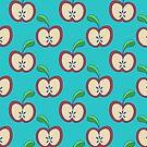 Apple Halves Blue Pattern by SaradaBoru