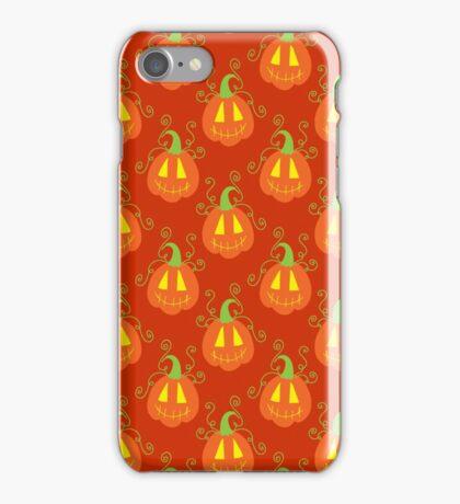 Orange Jack O Lantern Pattern iPhone Case/Skin