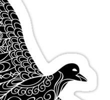 zen seagull on the black Sticker