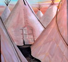 """Tepees at Sunset"" by Lynn Ahern Mitchell"