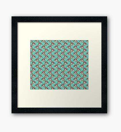 Christmas Penguin Pattern Framed Print