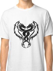 Curled dragons tribal tattoo design Classic T-Shirt