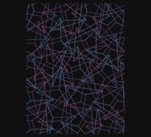 Abstract Geometric 3D Triangle Pattern in Blue / Pink T-Shirt