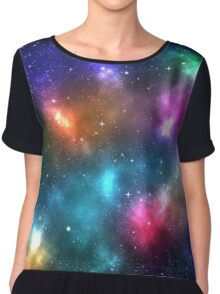 Galaxy nebula colorful with shining stars Chiffon Top