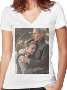 CARRIE FISHER & HARRISON FORD (Han Solo & Princess Leia, STAR WARS) Women's Fitted V-Neck T-Shirt
