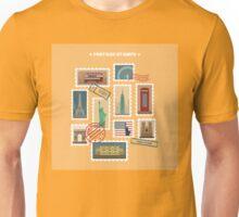 Set of Travel Postage Stamps: USA, New York, London, Paris. Vector illustration Unisex T-Shirt