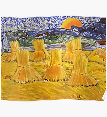 Evening Landscape with Rising Moon, Van Gogh art alteration Poster