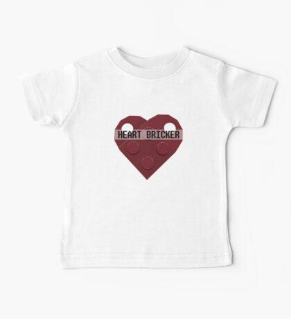 Valentines Day Toy Brick Heart Valentines Charm For Boys Dark Red Baby Tee