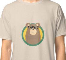 Nerd Brown Bear with cirlce Classic T-Shirt