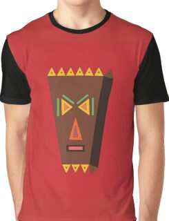 Tiki with Red Background Graphic T-Shirt