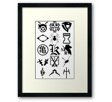 Anime Logos 2_Black Framed Print