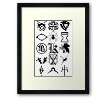 Anime Logos 2_Black Framed Print