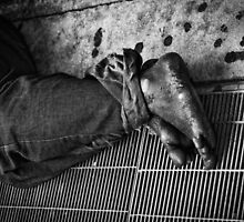 Feet of the homeless by Jeffrey  Sinnock