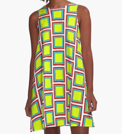 .Pattern F-1. .11%Offset Tile - White. A-Line Dress