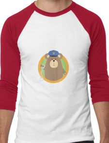 Officer Grizzly with Handcuffs in circle Men's Baseball ¾ T-Shirt