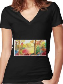 Forest Fall Painting Art Print Fine Art Print from Watercolor Painting Colorful Fall Forest Painting Art Modern Wall Art Women's Fitted V-Neck T-Shirt