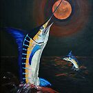 Marlins Frolicking under the Red Moon by Elisabeth Dubois