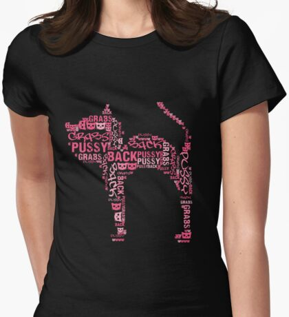 Pussy Grabs Back Kitty Cat - pink word mosaic Womens Fitted T-Shirt