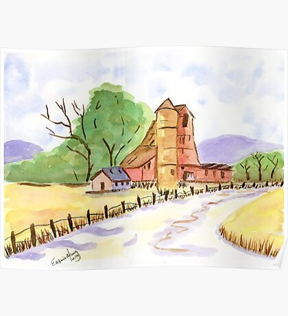 Old Farm. Original Watercolor Painting Country Art Print Fine Art Print from Watercolor Painting Landscape Painting Art Original  Wall Art Poster
