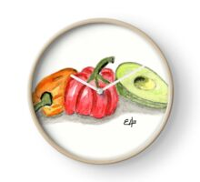 Red, Orange Peppers Painting Art Print Fine Art Print from Watercolor Painting Avocado, Vegetables Painting Art Kitchen Wall Art Clock